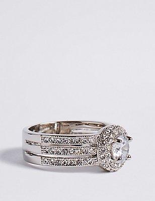 Platinum Plated Millgrain Eternity Diamanté Ring, SILVER MIX, catlanding