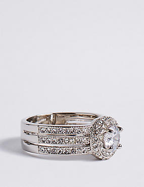 Platinum Plated Millgrain Eternity Diamanté Ring, SILVER MIX, catlanding