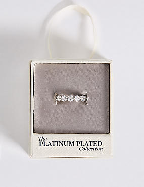 Platinum Plated Diamanté Band Ring , SILVER MIX, catlanding