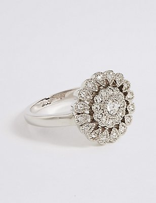 Platinum Plated Vintage Style Floral Diamanté Ring, SILVER MIX, catlanding