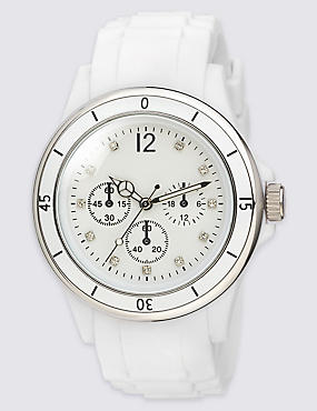 Round Face Diamanté Analogue Sports Watch, WHITE MIX, catlanding
