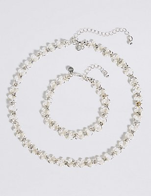 Pearl Effect Flower Choker Necklace & Bracelet Set, , catlanding
