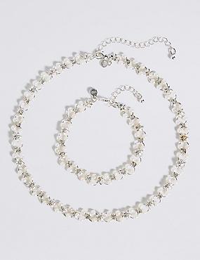 Pearl Effect Flower Choker Necklace & Bracelet Set, , catlanding