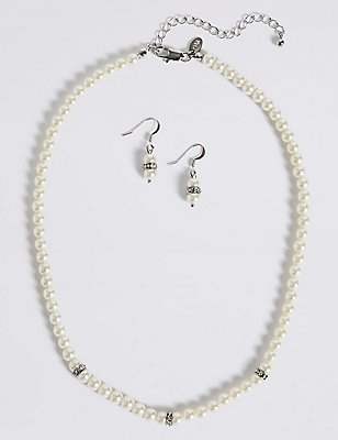 Pearl Effect Diamanté Ring Necklace & Earrings Set, , catlanding