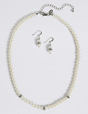 Pearl Effect Diamanté Ring Necklace & Earrings Set, , catlanding