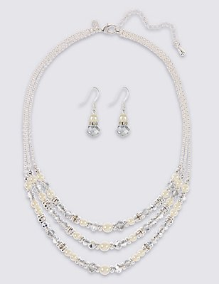 Pearl Effect Multi-Row Assorted Luxurious Necklace & Earrings Set, , catlanding