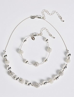 Silver Plated Sandblast Necklace & Bracelet Set, , catlanding