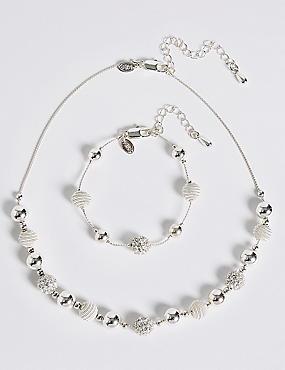Silver Plated Sandblast Necklace & Bracelet Set, , catlanding
