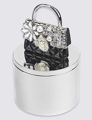 Diamanté & Pearl Effect Encrusted Bag Trinket Box, , catlanding