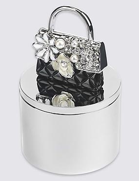 Boîte à bijoux ornée d'un sac incrusté de strass et de fausses perles, , catlanding