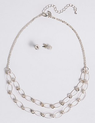 Silver Plated Necklace & Earring Set, , catlanding