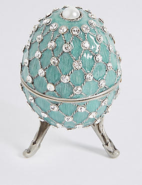 Gustavs Egg Diamanté Encrusted Trinket Box, PALE BLUE, catlanding