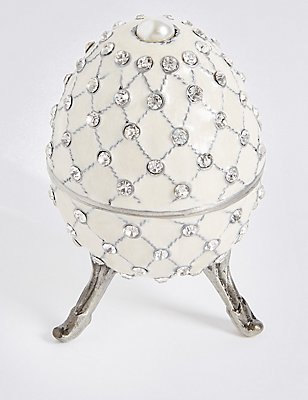 Gustavs Egg Diamanté Encrusted Trinket Box, WINTER WHITE, catlanding