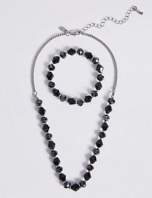 Assorted Multi-Faceted Sparkling Bead Necklace & Bracelet Set, , catlanding