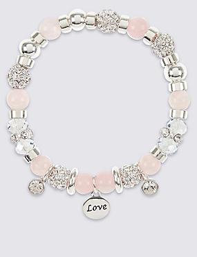 Sparkle Heart Charm Stretch Bracelet, , catlanding