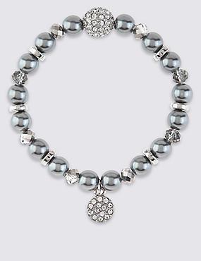 Pearl Effect & Diamanté Charm Stretch Bracelet, , catlanding