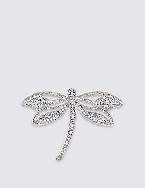 Diamanté Dragonfly Brooch, , catlanding