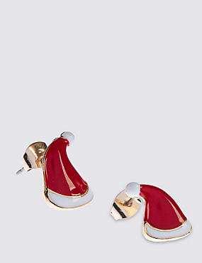 Santa Hat Stud Earrings, , catlanding