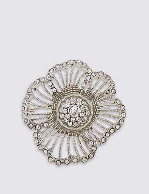 Crystal Flower Brooch, , catlanding