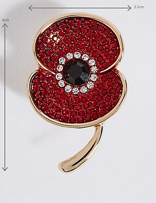 The Poppy Collection® Sparkle Poppy Brooch, , catlanding