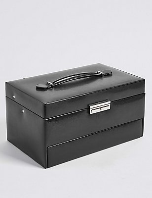 Large Rectangular Jewellery Box, BLACK, catlanding
