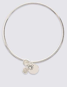 Silver Plated Bangle Bracelet, SILVER, catlanding