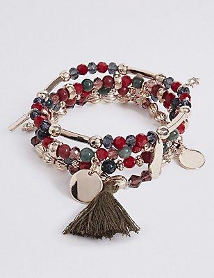 4 Pack Mongolia Stretch Bracelets, , catlanding