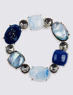 Diamanté Mixed Stone Stretch Bracelet, , catlanding