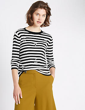 Cotton Blend Ella Stripe 3/4 Sleeve Jumper, BLACK MIX, catlanding
