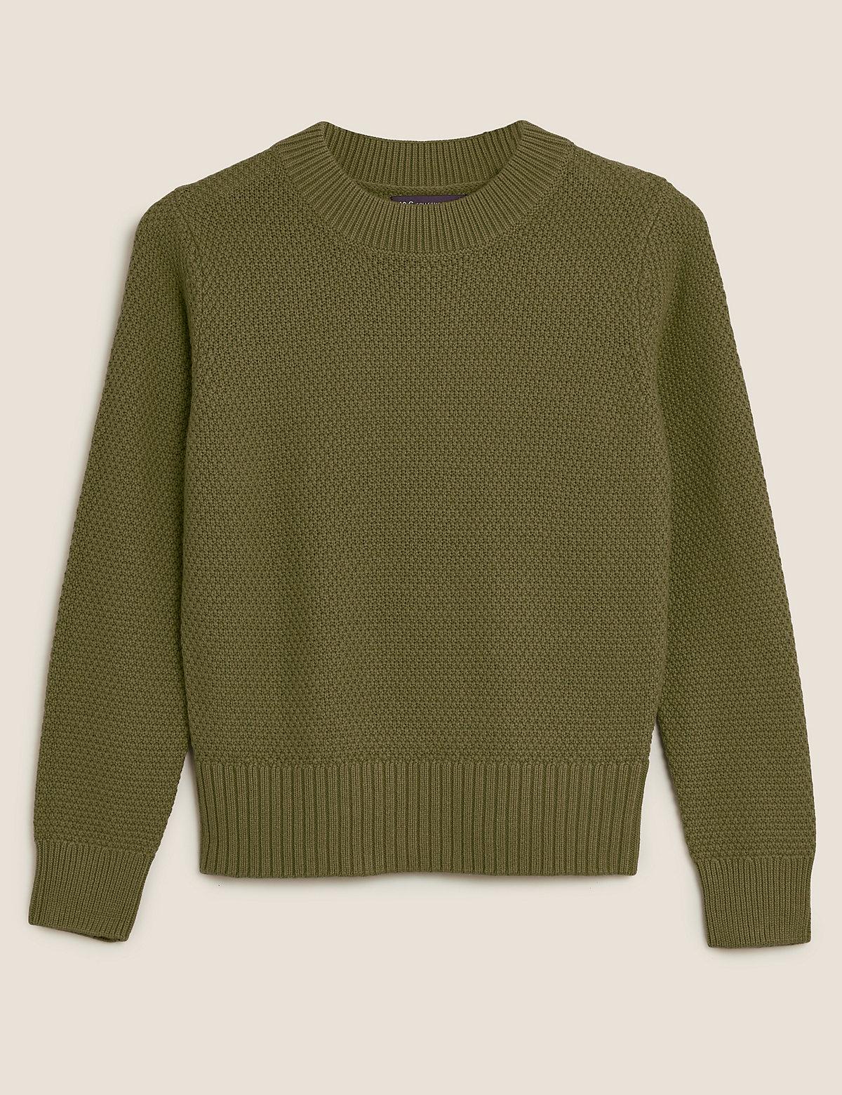 Джемпер из текстурированной хлопковой ткани с добавлением шерсти