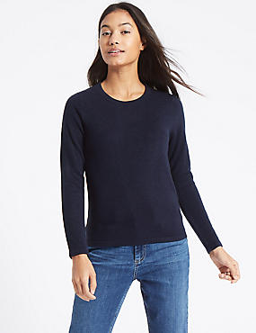 Soft Ribbed Round Neck Jumper, DARK NAVY, catlanding