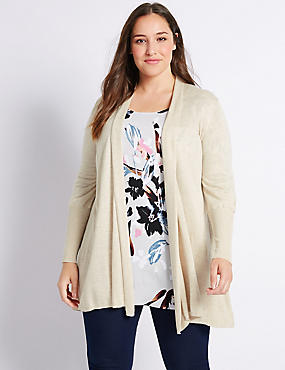 PLUS Ribbed Cuff Trapeze Cardigan, OATMEAL, catlanding