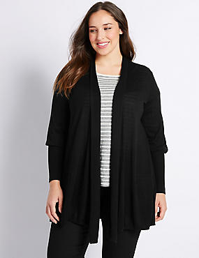 PLUS Ribbed Cuff Trapeze Cardigan, BLACK, catlanding
