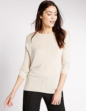 Boxy Knit Long Sleeve Jumper, OATMEAL, catlanding