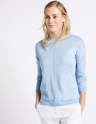 Boxy Knit Round Neck Jumper, FRESH BLUE, catlanding