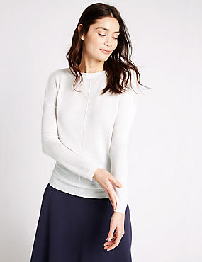 Gerade gestrickter Langarm-Pullover, WEICHES WEISS, catlanding