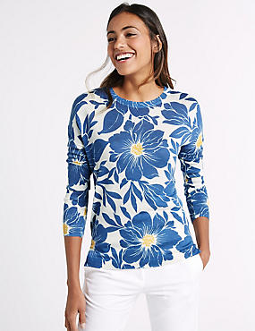 Floral Print Round Neck Long Sleeve Jumper, NAVY MIX, catlanding