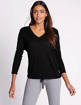 Lace Shoulder V-Neck Long Sleeve Jumper, BLACK, catlanding