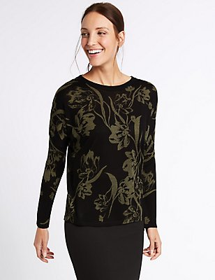 Floral Print Round Neck Jumper, BLACK MIX, catlanding