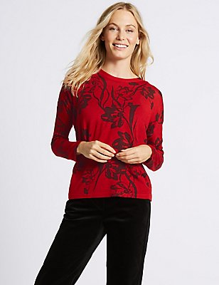 Floral Print Round Neck Jumper, RED MIX, catlanding