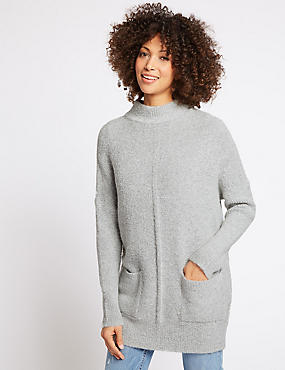 Textured Round Neck Long Sleeve Tunic Jumper, MID GREY MARL, catlanding