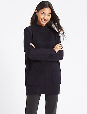Ribbed Turtle Neck Tunic Jumper, NAVY, catlanding