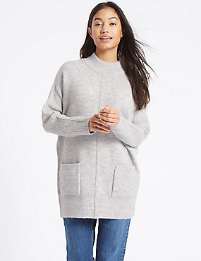 Ribbed Turtle Neck Tunic Jumper, MID GREY MARL, catlanding