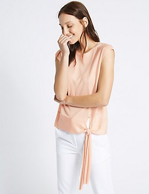 Side Tie Round Neck Cap Sleeve Jumper, BLUSH, catlanding