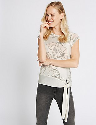 Floral Print Tie Side Cap Sleeve Jumper, WHITE MIX, catlanding