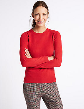 Round Neck Jumper, LACQUER RED, catlanding