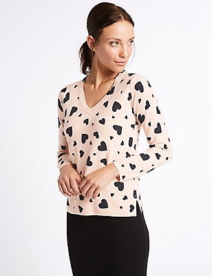 Heart Print V-Neck Jumper, LIGHT PINK MIX, catlanding