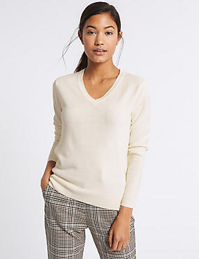 V-Neck Jumper, CREAM, catlanding