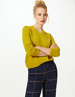 V-Neck Jumper, WINTER LIME, catlanding
