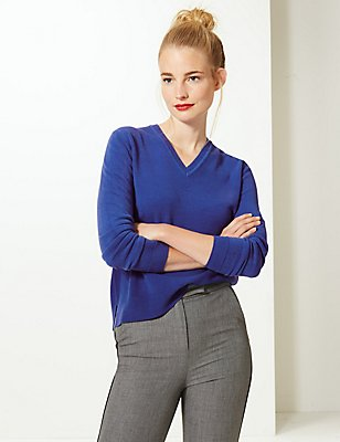 V-Neck Jumper, RICH BLUE, catlanding